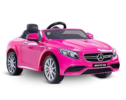 fit4form Kinder Elektroauto Mercedes Benz S63 AMG V8 Pink 12V rosa Kinderfahrzeug Kinderauto elektrisch