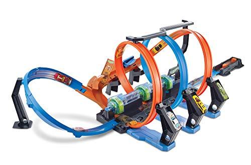 Hot Wheels FTB65 Crash Trackset: Auto Rennbahn mit 3 Loopings und Beschleuniger