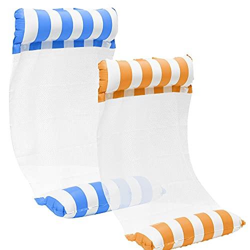 kunst für alle [2Stück] Aufblasbare Wasserhängematte Schwimmbett 4 in1 Wasser Hängematte Loungesessel...