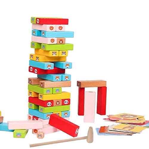 Coriver Animal Toys Tumble Tower Farbiges Stapelspiel mit Würfelkarten, Jenga Holzbausteine...