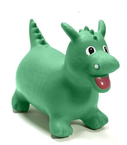 Happy Hopperz HHZ11 - Kinderwagenspielzeug - Aufblasbares Tier zum Reiten - Grüner Dinosaurier
