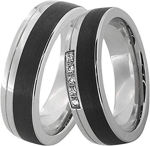 DOOSTI Paar Ring Set Damen Herren Partnerringe Edelstahl Carbon schwarz mit Zirkonia als...