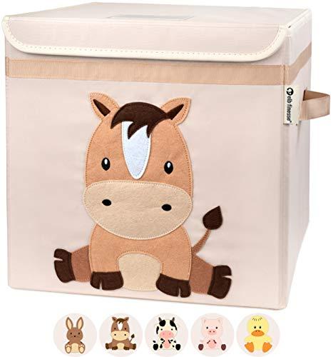 elb finesse ® Aufbewahrungsbox Kinder I Spielzeugkiste mit Deckel für das Kinderzimmer I Spielzeug Box...