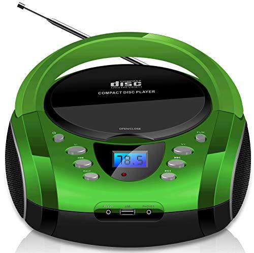 Tragbare Boombox   CD/CD-R   USB   FM Radio   AUX-In   Kopfhöreranschluss   CD-Player   Kinder Radio  ...