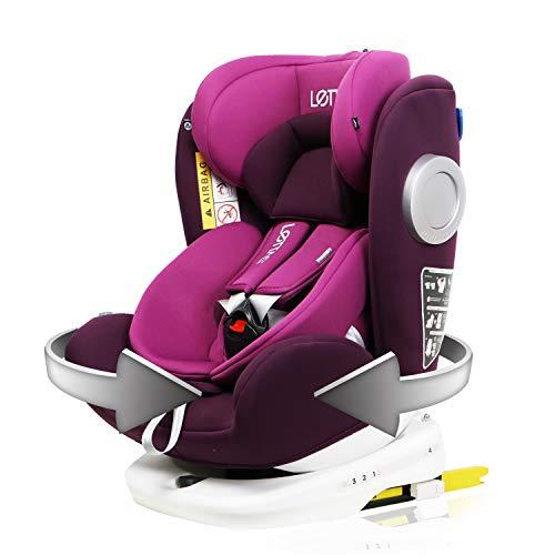 LETTAS Baby Autositz 360° drehbar Gruppe 0+1/2/3 (0-36 kg/0-12 Year) mit Protektoren seitliche Isofix...