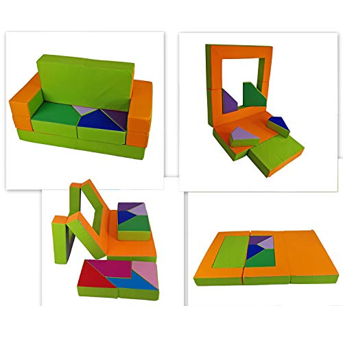millybo Spielsofa 4in1 Couch Kindersofa Puzzle Kinderzimmersofa Spielmatratze fürs Kinderzimmer...