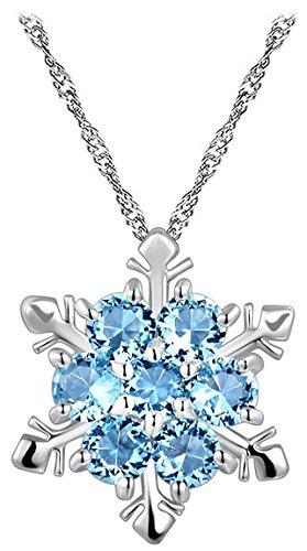 Miya® Luxus 925 Sterling Silber Kette Halskette mit blauen Kristall Schneeflocke (BlauSchneeflocke)
