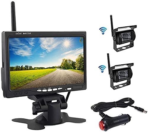 OiLiehu Wireless Rückfahrkamera Kit, 7 Zoll HD LCD Monitor mit Antenne, 2 x Wireless Rückfahrkamera,...