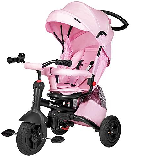 HyperMotion Dreirad mit drehbarer Komfortsitz, Kinder faltbar Dreirad Tobi Velar mit Elterngriff,...
