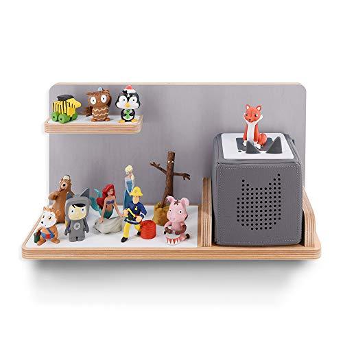 Kinder Regal für Musikbox I Farbe Hellgrau I Geeignet für die Toniebox und ca. 20 Tonies I Geschenk I...