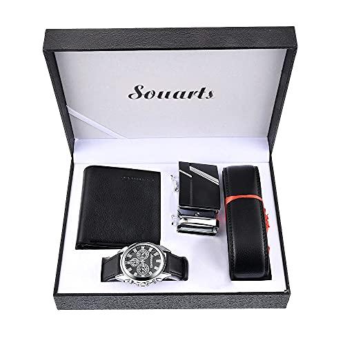 Souarts Herren Geschenkset mit Armbanduhr Männer Geldbörse Gürtel Sonnenbrillen Auto...