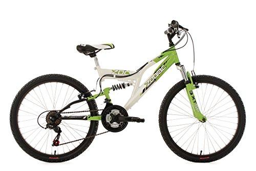 KS Cycling Kinderfahrrad Mountainbike Fully 24'' Zodiac grün-weiß RH38cm