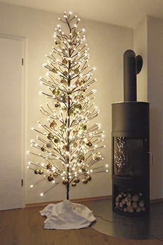 HILIGHT LED Weihnachtsbaum mit 392 warmweißen LEDs und Schneedeko 220 cm braun für Außenbereich...
