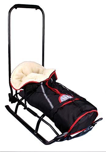 3in1 Kinder Schlitten mit Rückenlehne, Fußsack, Schiebegriff und Gurt aus Aluminium (Black&Graphite)