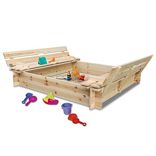 Coemo Sandkasten mit Deckel 120x120 klappbar aus Holz 2 Sitzbänke Sandkiste Buddelkasten