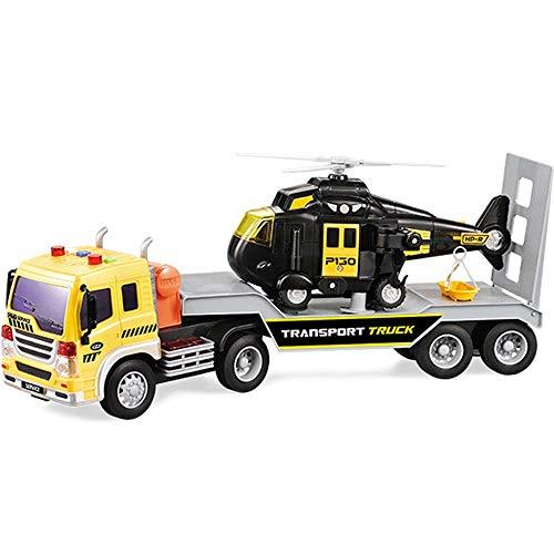 Xolye Transport Flachbett Kinderspielzeug Anhänger und Flugzeug Kombination Spielzeug Set Hubschrauber...