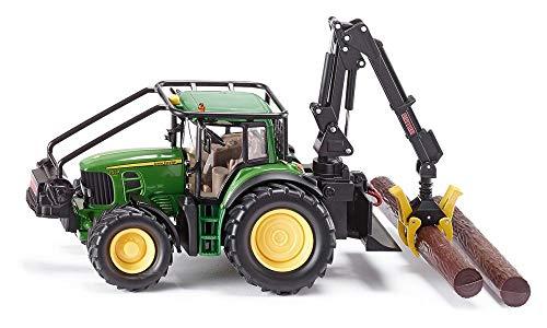 SIKU 4063, John Deere Forsttraktor, 1:32, Metall/Kunststoff, Grün, Bewegliche Greifer, Winde mit...