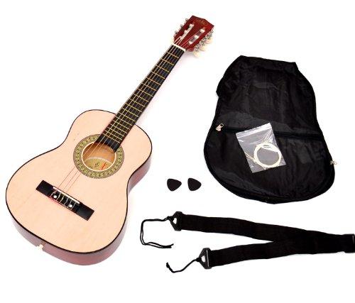 ts-ideen Kindergitarre Akustik Gitarre in der 1/4 Größe in Natur Braun für 4-7 Jahre mit Zubehörset:...