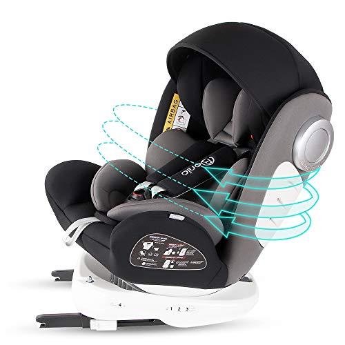 Bonio Kindersitz 360 ° Drehbar Autositz ISOFIX Gruppe 0+/1/2/3 (0-12 Jahre alt) 0-36kg mit Seitenschutz...