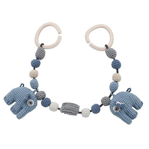 Sebra Häkel-Kinderwagenkette, Fanto der Elefant, Powder Blue [A]