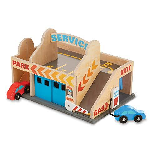 Melissa&Doug Tankstelle mit Parkhaus | Holzfahrzeug | Fantasiespiel | 3+ | Geschenk für Jungen oder...