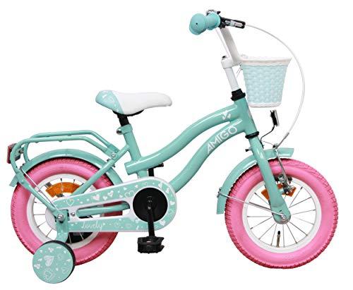 Amigo Lovely - Kinderfahrrad für Mädchen - 12 Zoll - mit Handbremse, Rücktritt, Korb und Stützräder...
