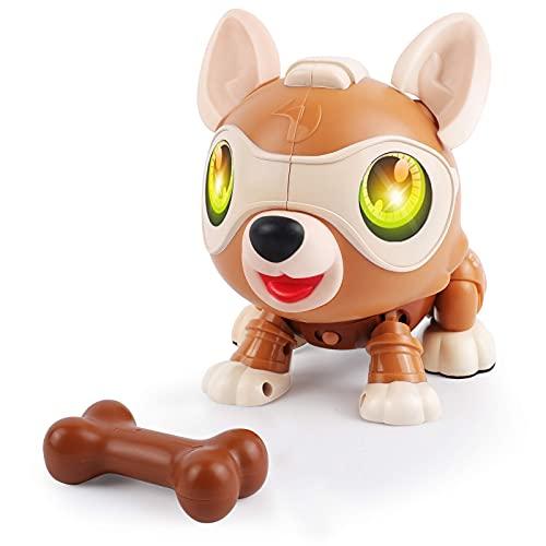 DeeXop Roboter Hund,DIY interaktiver Hund mit Laufen,Bellen, Musik,Licht und Mehreren Sensorfunktionen,...