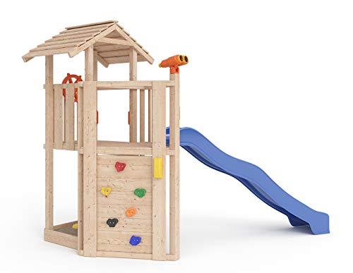 ISIDOR Little Joe Spielturm Baumhaus Schaukel Kletterturm Rutsche 1,2 m Podest Inkl. Sandkasten,...