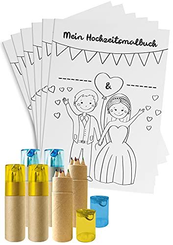 Hochzeitsmalbuch für Kinder - 6er Set - Ausmalbuch zur Hochzeit mit Buntstiften & Spitzern -...