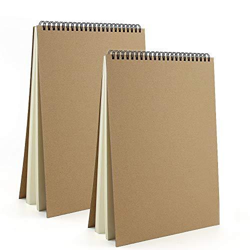 VEESUN Skizzenbuch din A4 2 STK, Zeichenblock Kunst Spirale 30 Blatt, 160GSM Leerseite Skizzenbuch, Kraft...