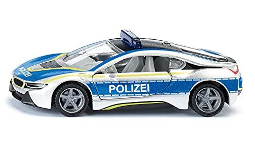 siku 2303, BMW i8 Polizeiauto, Metall/Kunststoff, Blau/Silber, Flügeltüren zum Öffnen, Gummierte...