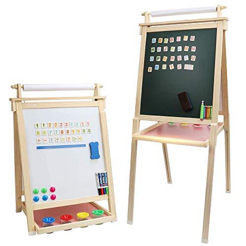 Dripex Kinder Kunst Staffelei mit Papierrolle doppelseitige Tafel und Magnetic Board für Kinder Malen...