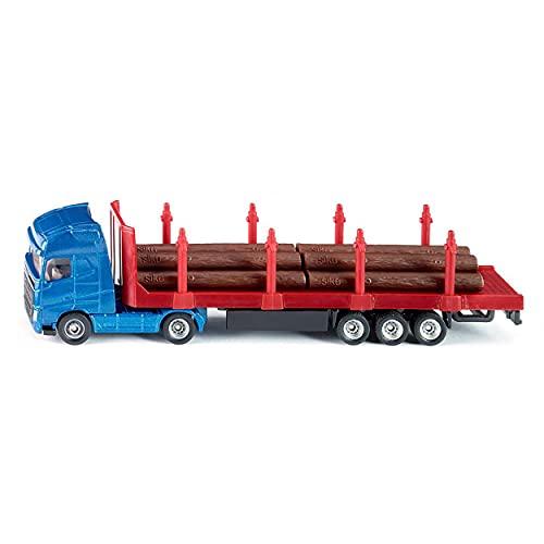 siku 1659, Holz-Transport-LKW, 1:87, Metall/Kunststoff, Blau/Rot, Inkl. Baumstämmen