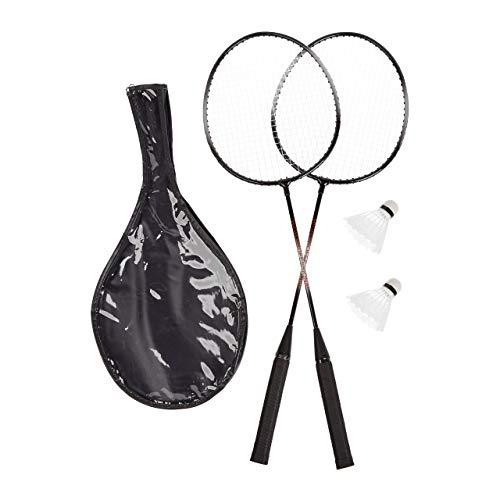 Relaxdays, grau Badmintonset mit Tasche, 2 robuste Bälle, Federballschläger für Kinder/Erwachsene, HxB...