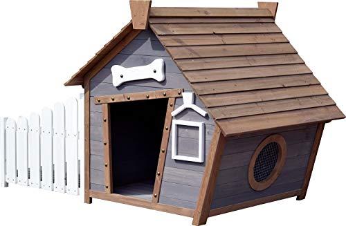 dobar 55016FSCe Outdoor-Hundehütte mit Spitzdach und seitlicher Veranda Comic-Design, FSC-Holz, 146, 3 x...