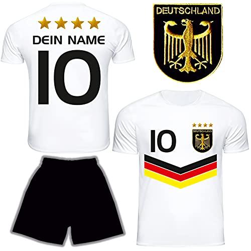 DE FANSHOP Deutschland Trikot Hose mit GRATIS Wunschname Nummer Wappen Typ #DV im EM/WM Weiss - Geschenke...