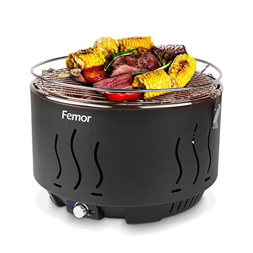 femor Rauchfreier Holzkohlegrill, Tischgrill mit Tragetasche, Grill mit Mirco-oder Batteriebetriebenem...