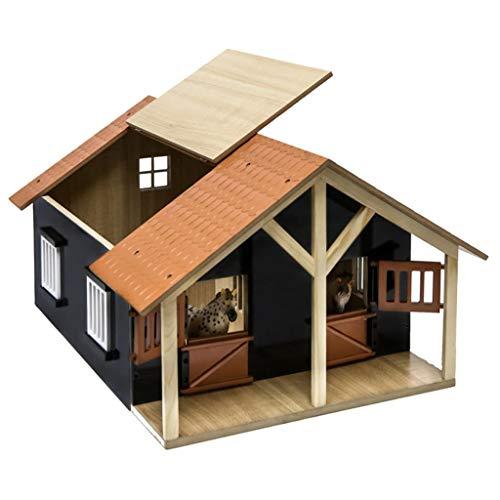 Van Manen 610167 - Kids Globe Farming Pferdestall Holz, Maßstab 1:24 - mit 2 Boxen, Werkstatt, Dach und...