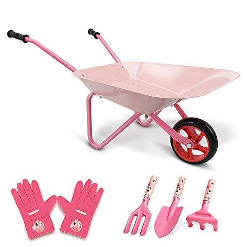 Hortem 5PCS Kinder Schubkarre Set, Metallkonstruktion Kinder Radlauf und Kinder Gartengeräte, Kinder...