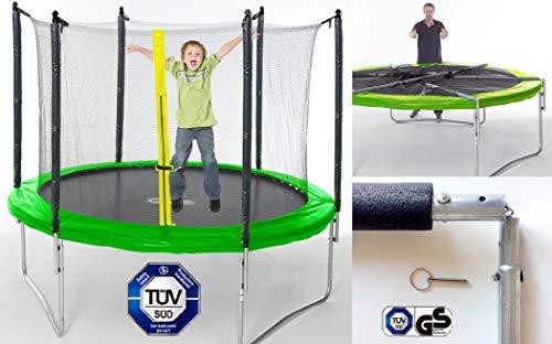 Izzy Trampolin Gartentrampolin 305 cm Komplett Set 150kg mit Regenplane und Sprungmatte gepolsterten...
