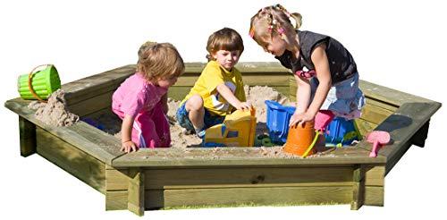 Gartenpirat Sandkasten 6-eck Ø 230 cm aus Holz 30 mm stark imprägniert