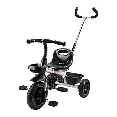 HyperMotion Dreirad für Kinder mit Steuergriff für Eltern, Sicherheitsgurten, bequemem Sattel, breite...
