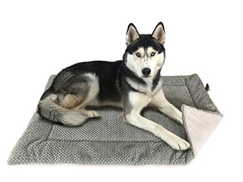 FLUFFINO® Hundedecke- Flauschig, Weich u. Waschbar (Größe L, 104 x 68 cm, grau)- Wildlederimitat für...