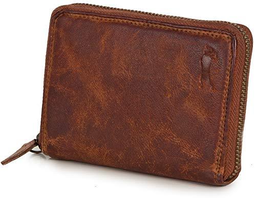 Ven Tomy Geldbörsen - Kleine Geldbörse Brieftasche für Damen und Herren mit Reißverschluss - Leder...