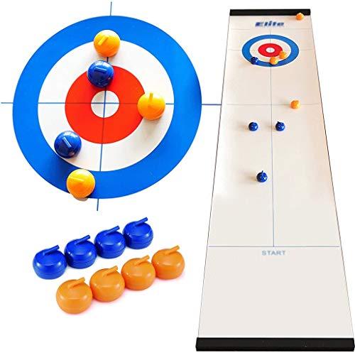 YYL Schnelles Sling Puck Spiel Tisch-Curling-Spiel Kompaktes Curling-Brettspiel mit 8 Shuffleboard Pucks...
