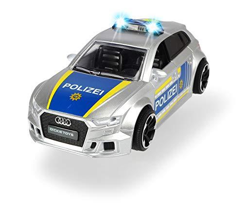 Dickie Toys 203713011 Audi RS3 Polizei, Polizeiauto mit Friktion, mit Zubehör und Straßensperre, Licht...