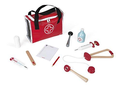 Janod J06513 Arztkoffer für Kinder, mit 10-teiligen Massivholz-Zubehör, Fantasiespielzeug, für Kinder...