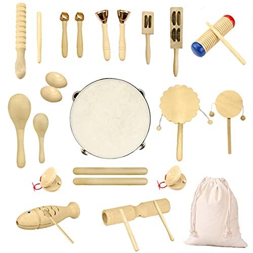 Ulifeme Holz Musikinstrumente Set, 27 Stück Instrumente für Kinder, Kleinkinder und Baby, Reines Holz...