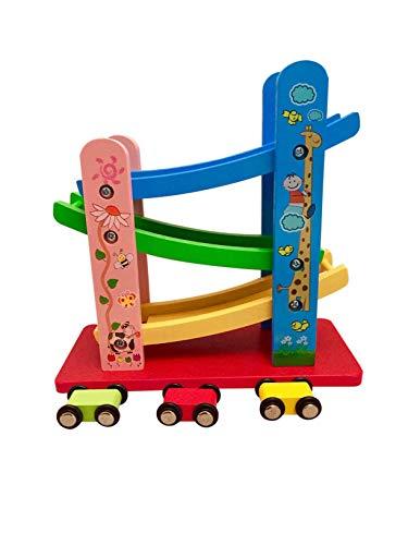 Lalia Holzspielzeug, Autorennbahn, Motorik Spielzeug, bunt, Holz Spielzeug 3+ Geschenk Kinder Kleinkinder...