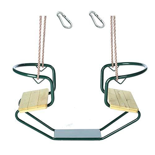 h2i Doppelschaukel Schiffschaukel Metallrahmen mit zwei Holzsitzen incl. Karabiner zum Einhängen Farbe...